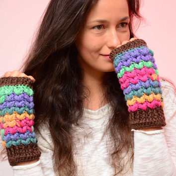 Multicolor mittens,  bright color crochet mittens, wool women's gloves, soft fingerless mitts, fall mittens, wool mittens. Christams gift.