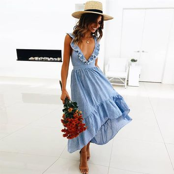Summer Maxi Dress Women Ruffle Striped Casual Beach Dress Deep V Neck Sexy Backless High Low Asymmetrical Long Dress Robe