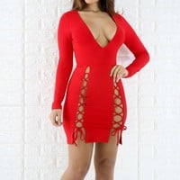 Casual Red Drawstring Lace-up Prom Evening Party Plunging Neckline Polyester Midi Dress