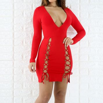 Streetstyle  Casual Red Drawstring Lace-up Prom Evening Party Plunging Neckline Polyester Midi Dress