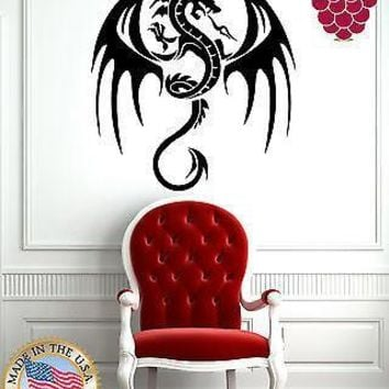 Wall Stickers Vinyl Decal Flying Dragon Spitting Fire Medieval Tales  Unique Gift EM479