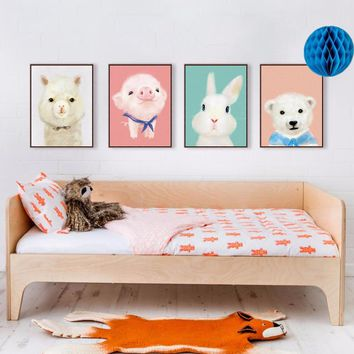 Watercolor Modern Cute Animals Penguin Art Print Poster Kawaii Rabbit Nursery Deco Wall Picture Baby Kids Room Painting No Frame