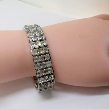Art Deco Crystal Bracelet, Channel Set, Rhodium Setting, 1950s Bracelet, Wedding Bridal Jewelry, Crystal Clear Stones