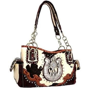 Studded Western Cowgirl Cow Print Cross Horseshoe Satchel Purse (Burgundy)