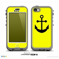 The Yellow & Solid Black Anchor Silhouette Skin for the iPhone 5c nüüd LifeProof Case