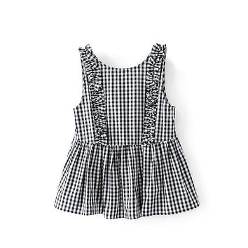 Women Tank Top Summer Sleeveless Plaid Shirt Backless Blouses Pleated Camis Round Collar Checked Clothing Blusas Camisa