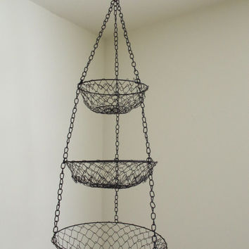 vintage hanging basket // three tier mesh hanging basket // fruit basket // metal hanging basket // black basket // farmhouse hanging basket