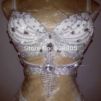 Silver Rhinestone Bikini Outfit Fashion Women Shining Short Costumes Stage Dance Clothing Party Birthday