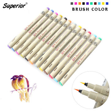 Bianyo 12 Color Drawing Brush Pen Set Artist Soluble Colors Copic Sketch Marker for School Drawing Design Paints Art Supplies