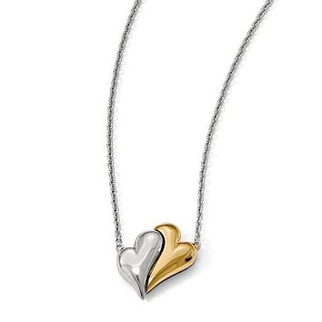 Two Tone Twin Hearts Magnet Necklace
