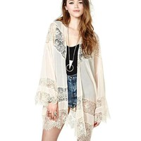 iecool Women Vintage Hippie Boho Kimono Cardigan Lace Crochet Jacket Tops Blouse