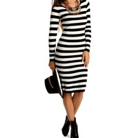 Promo-black Striped Sweater Midi