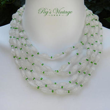 1960's White & Green Sugar Bead Necklace, 6 Strand Glass Bead Necklace, Multi Strand Choker