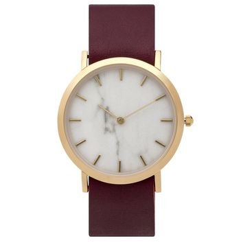 Classic White Marble Leather Strap Watch