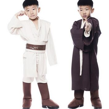 Star Wars Jedi Warrior Full Set Cosplay Costume Obi Wan Kenobi Costume Tunic For Children Kids New