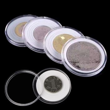 46mm Plastic Coin Holder Capsule Storage Case Collection Display Container Box 10pcs With Pad 5 size rings for choose