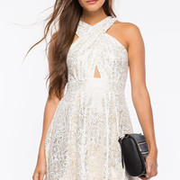 Cross Halter Paisley Shine Dress