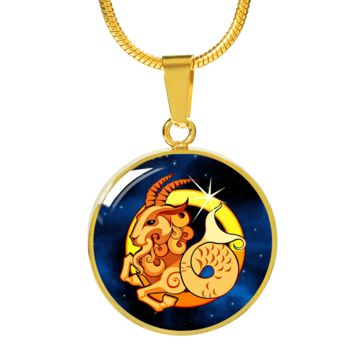 Zodiac Sign Capricorn - 18k Gold Finished Luxury Necklace