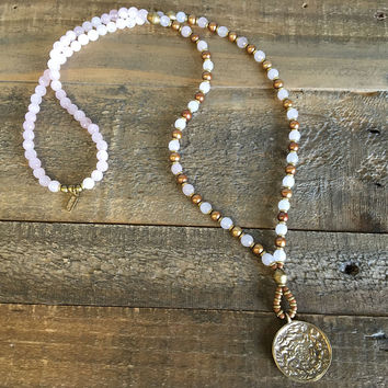 Rose quartz and Freshwater pearl, 'Emotional healing and love' beaded necklace with Tibetan pendant, 108 bead mala