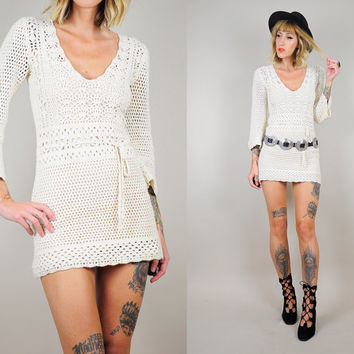 Ivory CROCHET 60's Micro Mini dress Hippie 70's BOHEMIAN Bell Sleeve Cotton Belted Mod go-go xs