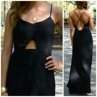 Lundy Island Black Maxi Dress