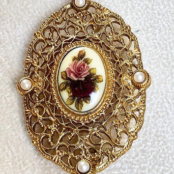 Victorian Look Filigree Brooch with Pink Rose Gold Tone Vintage