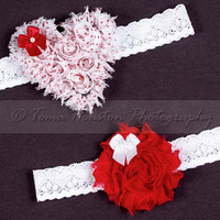 Bridal, Wedding Garter Set- Red, Polka Dot, Shabby Chiffon Heart, Flower, White Lace