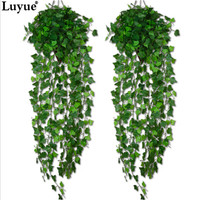 Luyue 1 Piece Artificial Ivy Leaf Garland Plants Vine Fake Foliage Flowers Home decor 7.5 feet