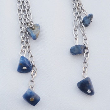 Silver sodalite blue gem chain dangle earrings