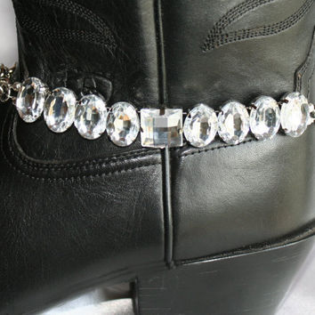 Cowgirl Western Boot Bracelet, Rhinestone Boot Bling Statement, Clear Crystal Wedding Ankle Bracelet, Country Western Bride Choker Necklace,
