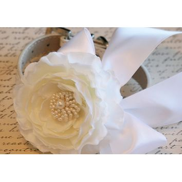 White Peonies Floral Dog Collar, Pet Wedding, White Wedding, Floral wedding ideas