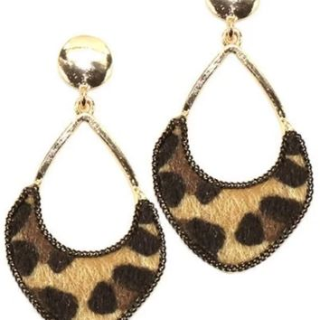 Fashion Metal w/ Faux Fur Leopard Print Drop Post Earrings