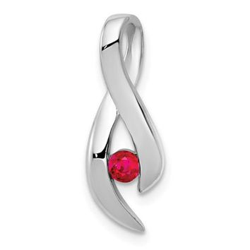14k White Gold 3mm Ruby Infinity Inspired Pendant