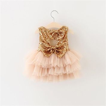 Baby Fluffy Cake Smash Dress Newborn Toddler Clothing 1 Year Birthday Infant Party Costume Gold Sequins Bow Baby Baptism Dress