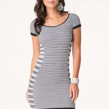 bebe Womens Summer Stripe Dress Black White