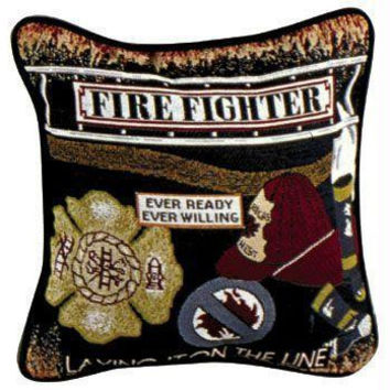 Firefighter Theme Throw Pillow - One-sided Design