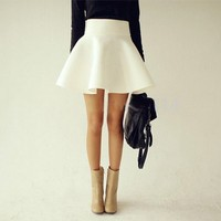 fashion mini skirt LK1211CH (M, white)
