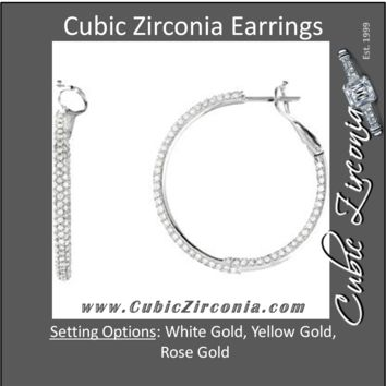 Cubic Zirconia Earrings- 14K White 2.0 Carat TCW Inside/Outside Hoop