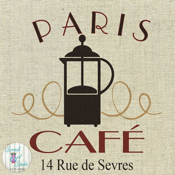 Printable Fabric Transfer Image, Digital Image, Paper Craft Supplies, Instant Art, Home Decor, Clipart - Paris, French Coffee Shop