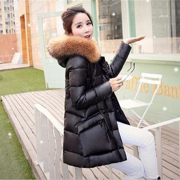 White duck down winter jacket women real fur coat parkas for women winter clothing winter large pockets womens down jackets F818