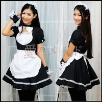 Ninimour-New Sexy Lingerie Japanese Cosplay Lolita French Maid Costume Dress (Regular Size, Black Lolita Maid)