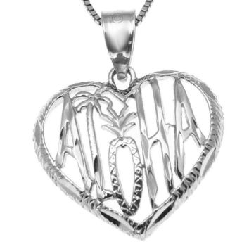SOLID 14K WHITE GOLD HAWAIIAN ALOHA PALM TREE PINEAPPLE HEART PENDANT 16.30MM