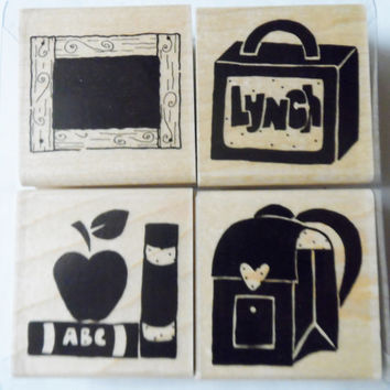 Lunch Box DOTS Set of 4 Rubber Stamps Children School Student Wood Mounted NIP