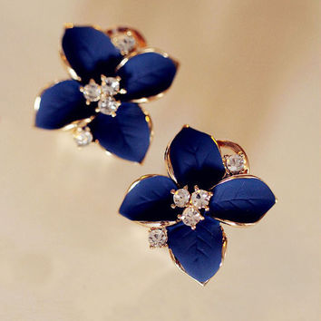 RE High Quality Chic Noble Blue Flower Gold Plated Ladies Rhinestone Stud Earrings Piercing Earings Brinco Women Accessories
