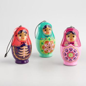 Wood Russian Doll Ornaments Set of 3