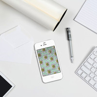 Iphone Wallpaper - Vintage Lily Illustration - Yellow, Mint And White - Phone Wallpaper - iPhone 4 And 4S - Phone Accessories