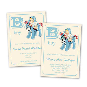 Digital DIY Vintage Baby Boy Shower Invitation / Baby Announcement / Baby Card / editable PDF / add your own text / personalize it yourself