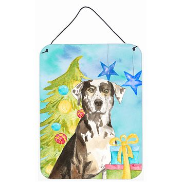 Christmas Tree Catahoula Leopard Dog Wall or Door Hanging Prints CK1882DS1216