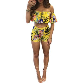 Floral Print Casual Women Set Sexy Off The Shoulder Slash Neck Pullover Top With Short Pants Two Piece Set Suit Female Set Women