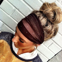 Polka Dot Stretchy Chiffon Headband Brown Turban